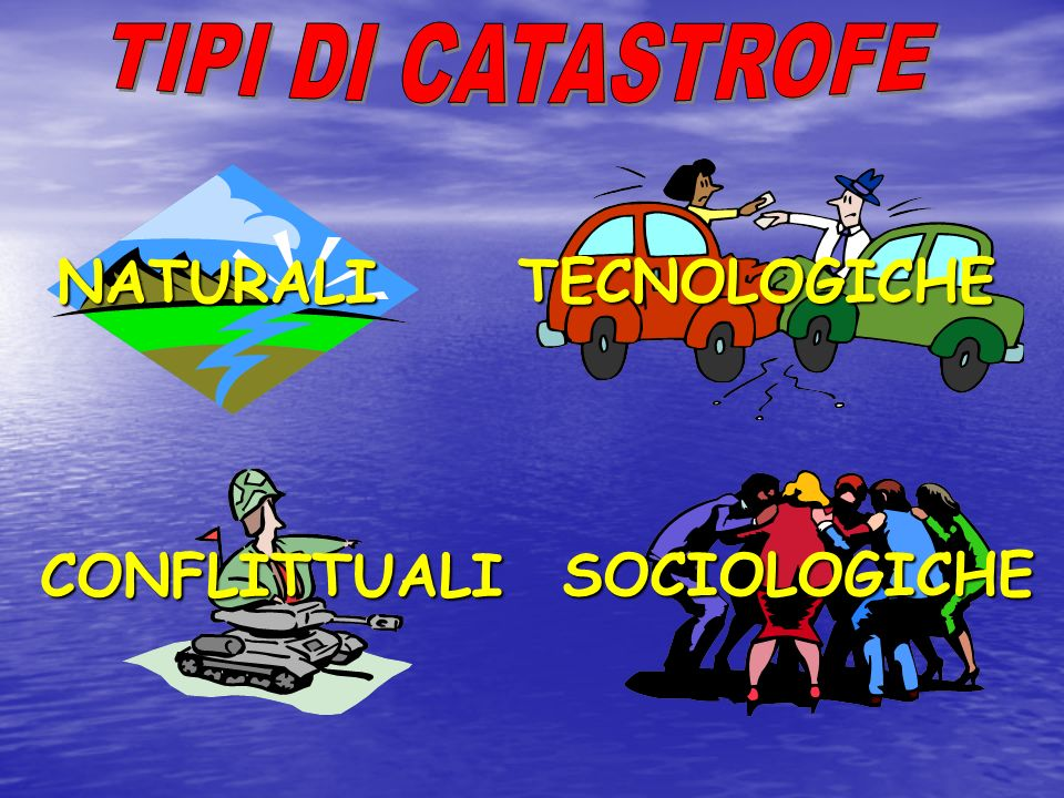 NATURALI TECNOLOGICHE CONFLITTUALI SOCIOLOGICHE TIPI DI CATASTROFE