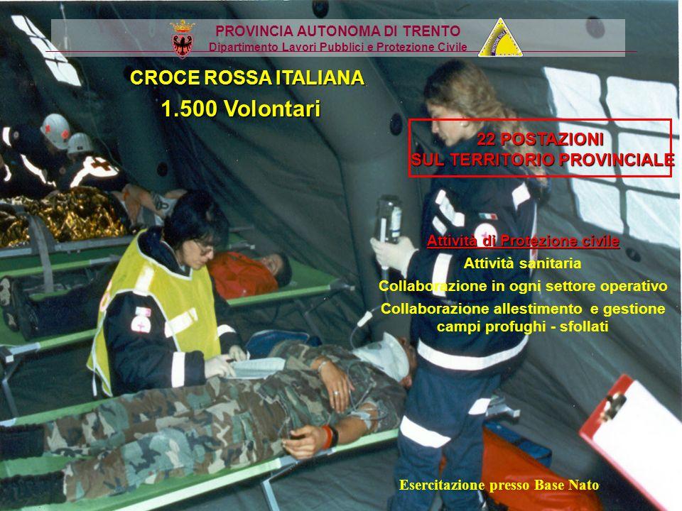 1.500 Volontari CROCE ROSSA ITALIANA 22 POSTAZIONI
