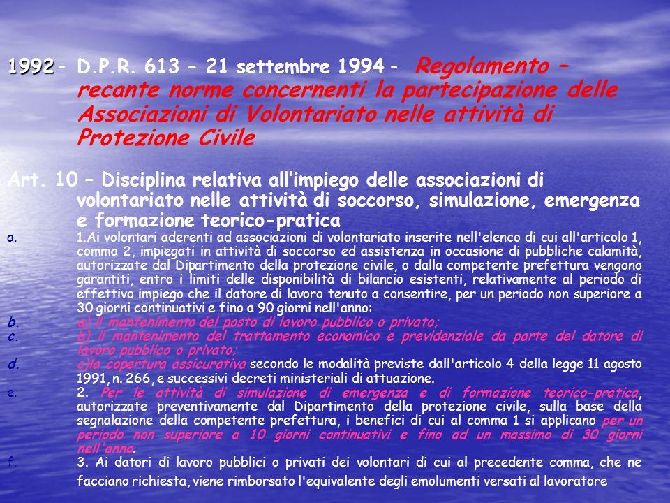 1992 - D.P.R. 613 - 21 settembre 1994 - Regolamento – recante norme concernenti la partecipazione delle Associazioni di Volontariato nelle attività di Protezione Civile
