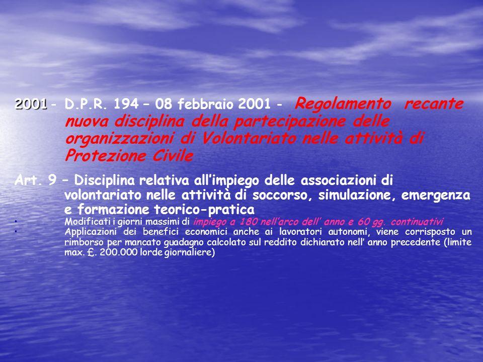 2001 - D.P.R. 194 – 08 febbraio 2001 - Regolamento recante nuova disciplina della partecipazione delle organizzazioni di Volontariato nelle attività di Protezione Civile