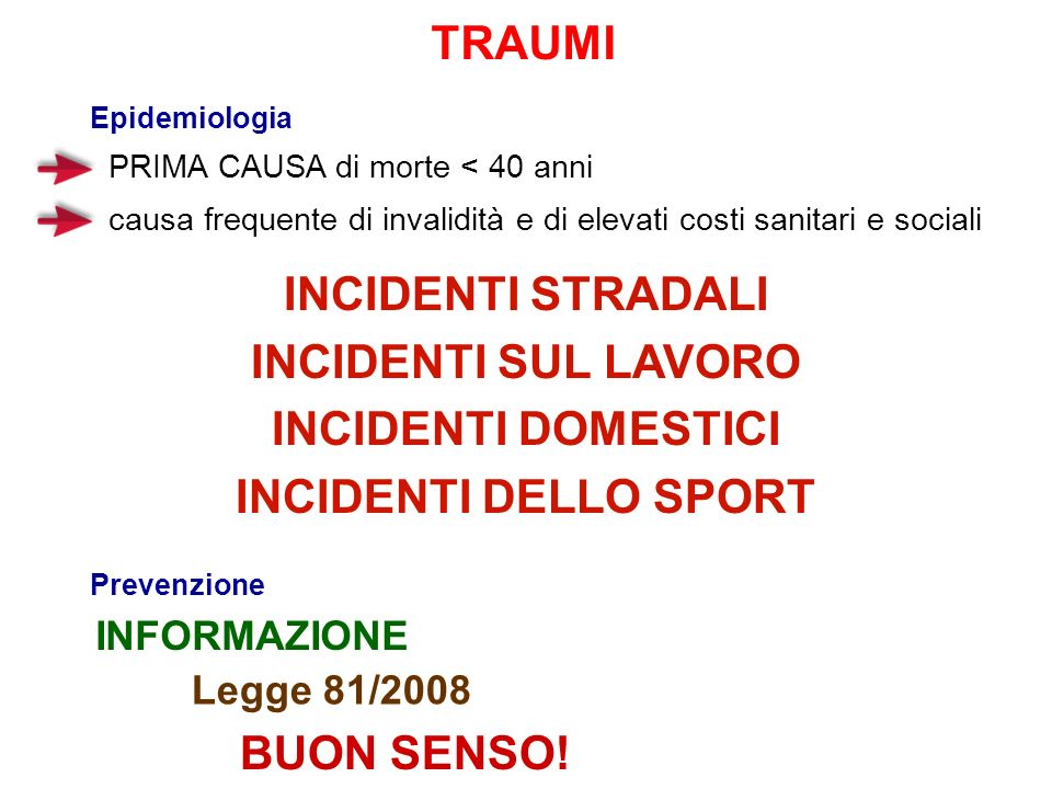 TRAUMI INCIDENTI STRADALI INCIDENTI SUL LAVORO INCIDENTI DOMESTICI