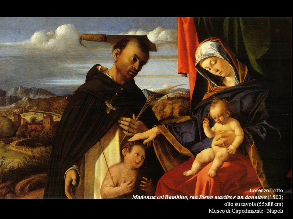 Lorenzo Lotto Madonna col Bambino, san Pietro martire e un donatore (1503) olio su tavola (55x88 cm)