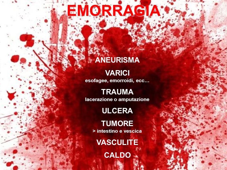EMORRAGIA ANEURISMA VARICI TRAUMA ULCERA TUMORE VASCULITE CALDO
