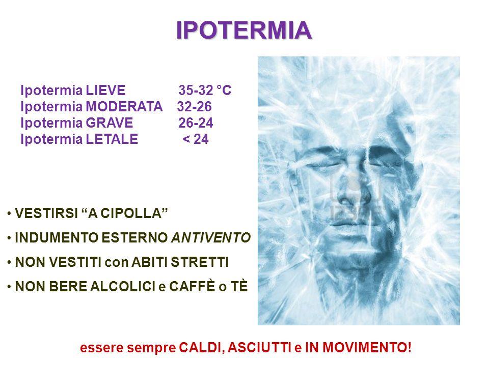 IPOTERMIA Ipotermia LIEVE 35-32 °C Ipotermia MODERATA 32-26