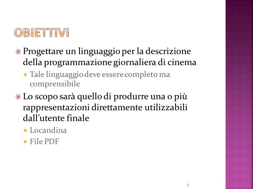 Obiettivi Progettare un linguaggio per la descrizione della programmazione giornaliera di cinema.