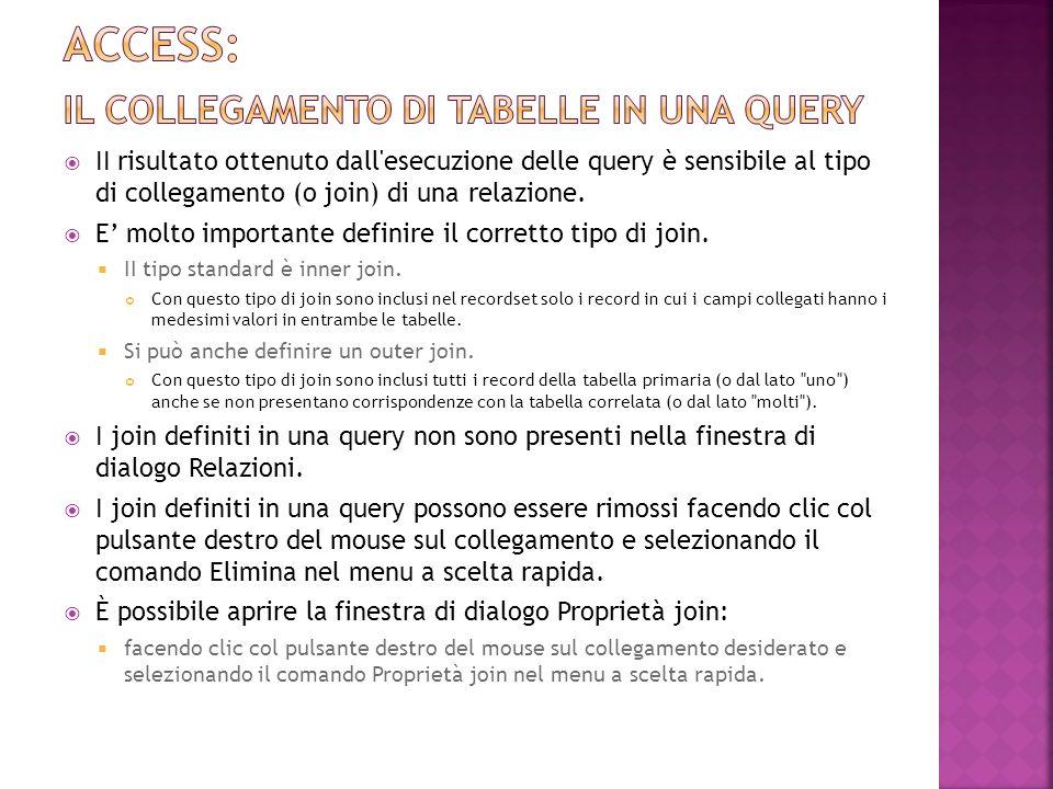 Access: il collegamento di tabelle in una query