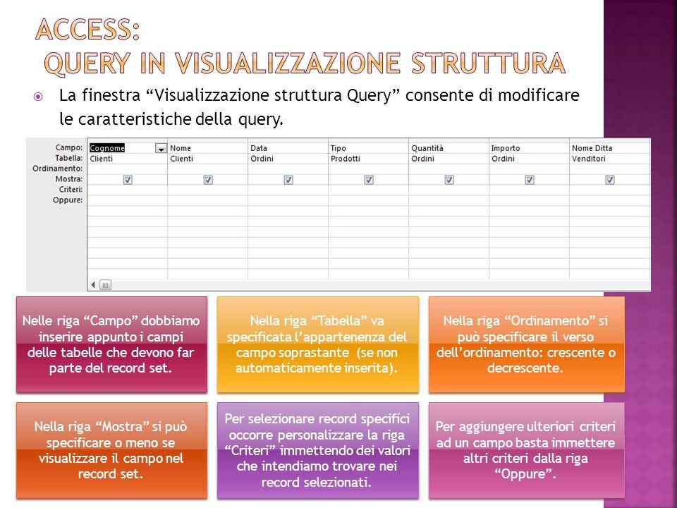 Access: query in visualizzazione struttura