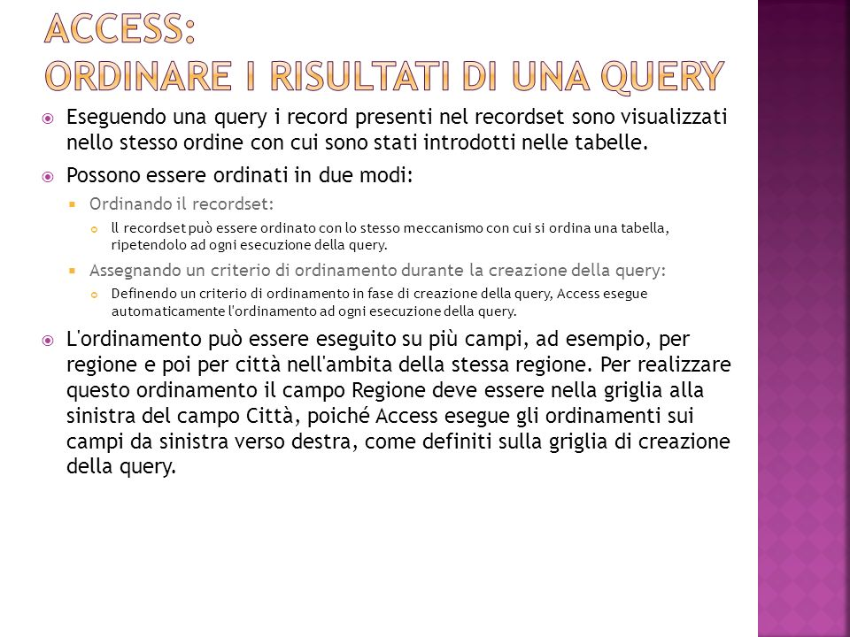 Access: ordinare i risultati di una query