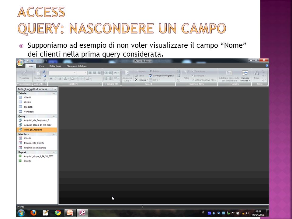 Access Query: nascondere un campo