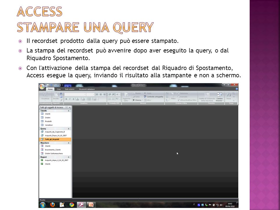 Access stampare una query