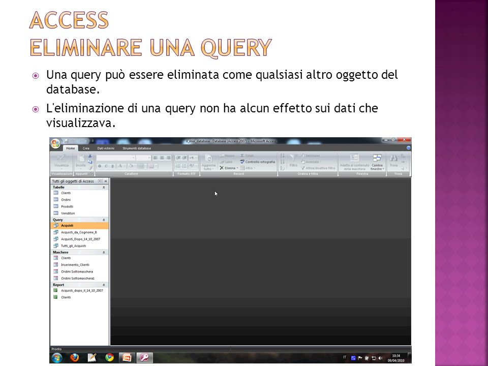 Access eliminare una query