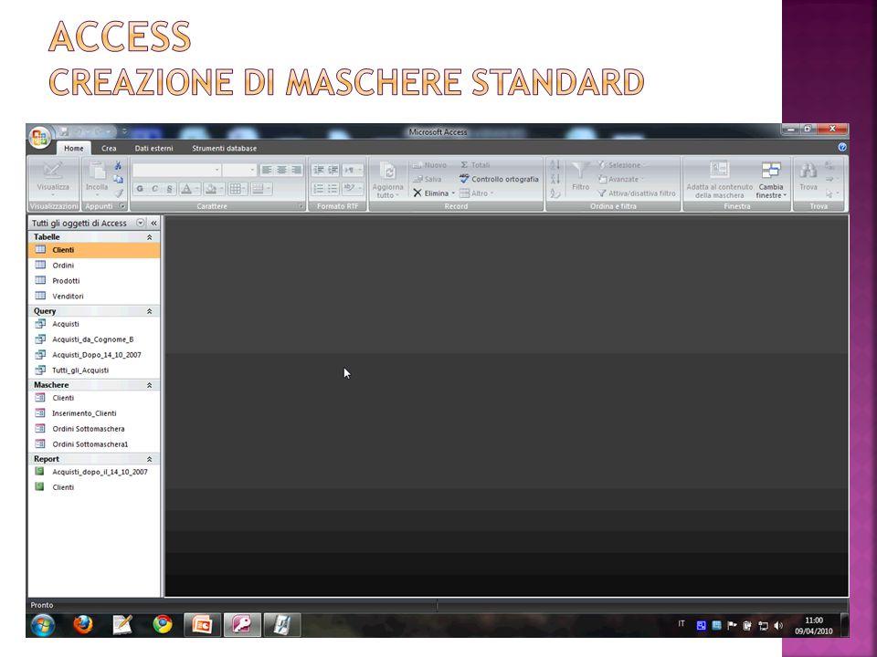 Access creazione di maschere standard