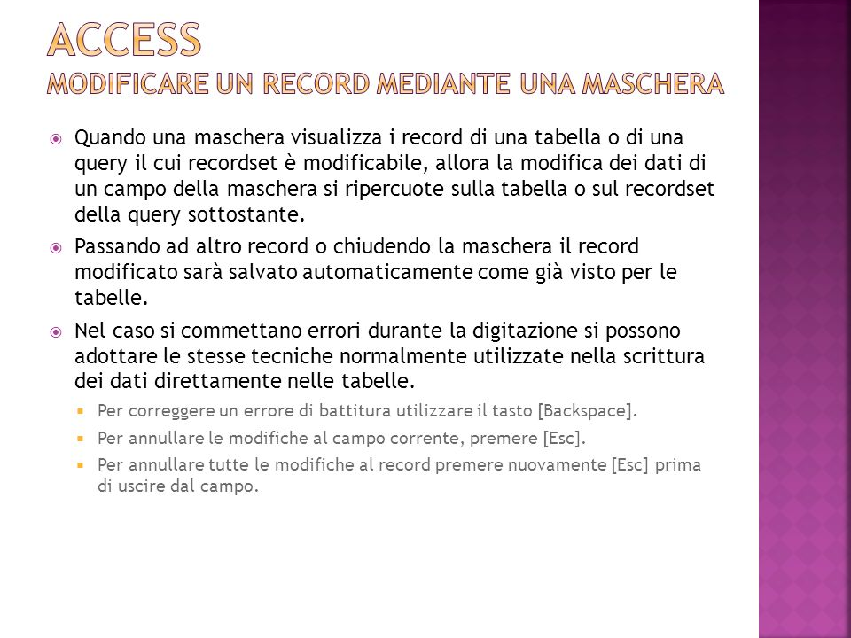 Access MODIFICARE UN RECORD MEDIANTE UNA MASCHERA