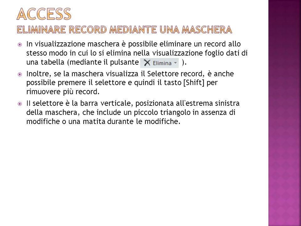 Access Eliminare RECORD MEDIANTE UNA MASCHERA