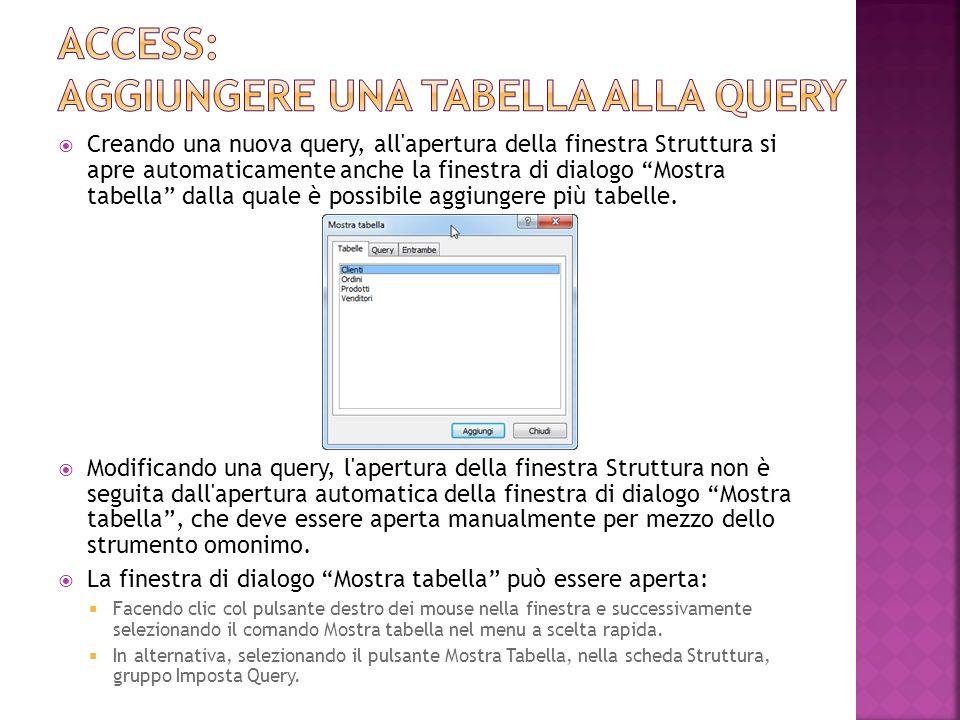 Access: aggiungere una tabella alla query