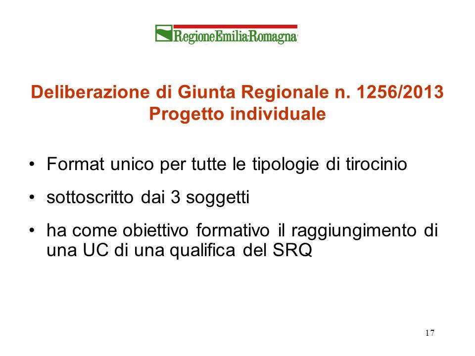 Deliberazione di Giunta Regionale n. 1256/2013 Progetto individuale