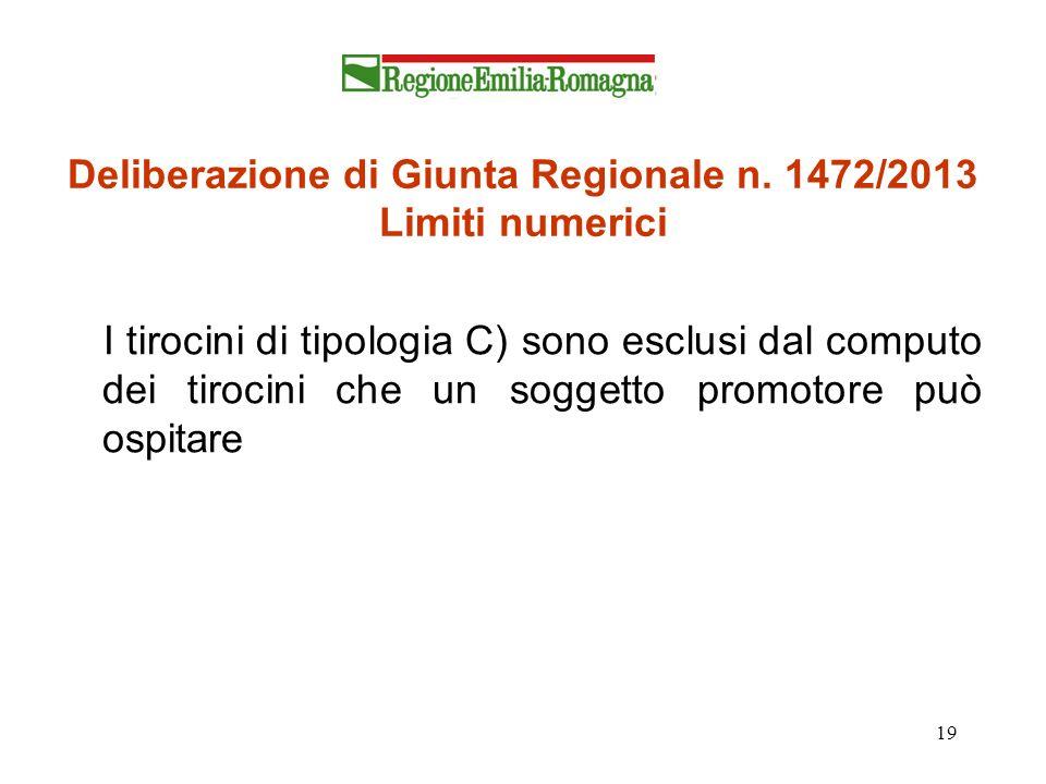 Deliberazione di Giunta Regionale n. 1472/2013 Limiti numerici