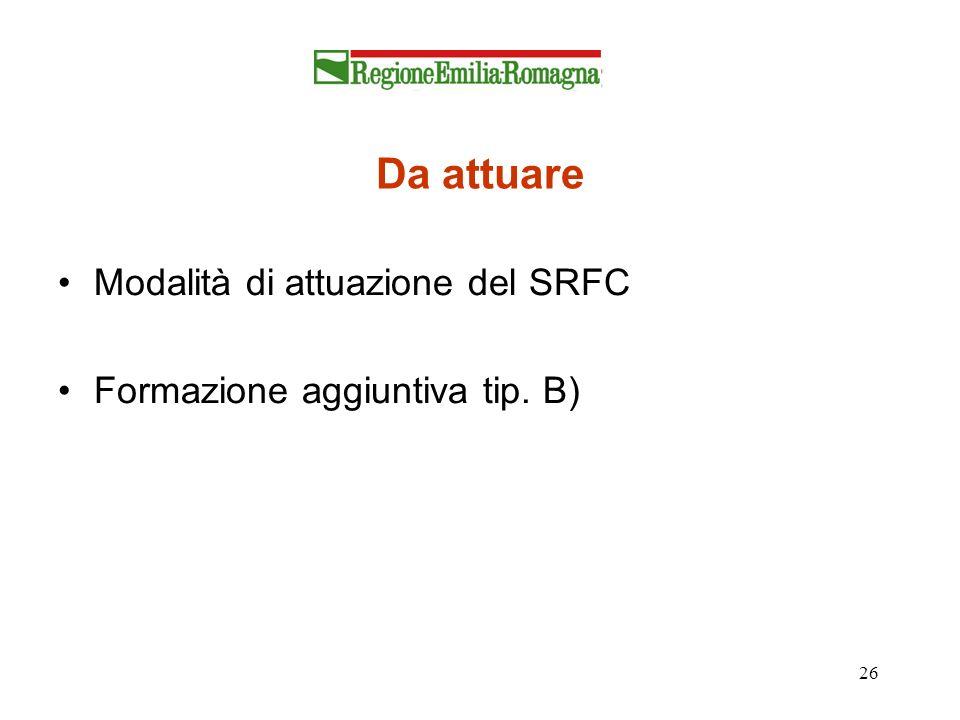 Da attuare Modalità di attuazione del SRFC