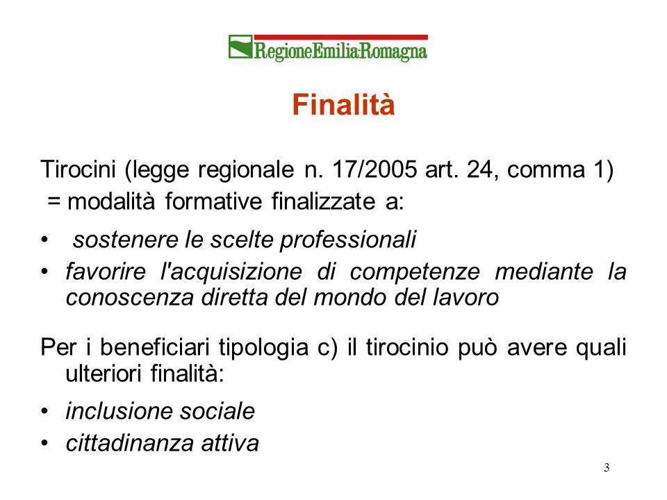Finalità Tirocini (legge regionale n. 17/2005 art. 24, comma 1)