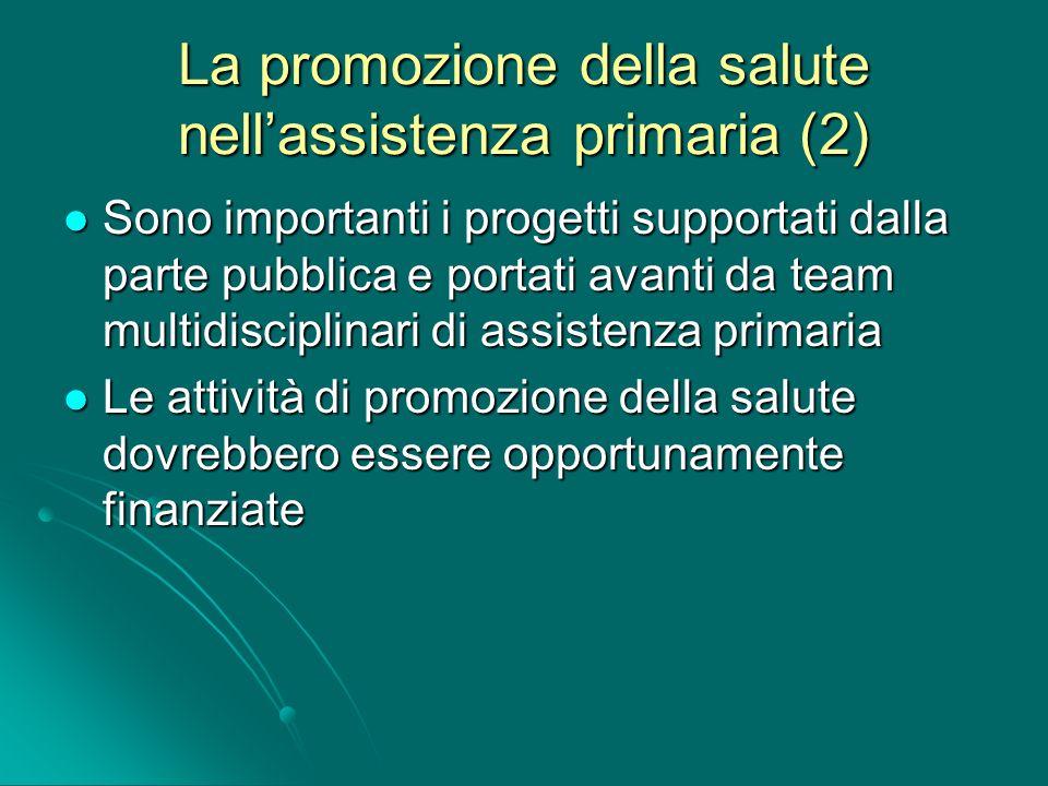 La promozione della salute nell'assistenza primaria (2)