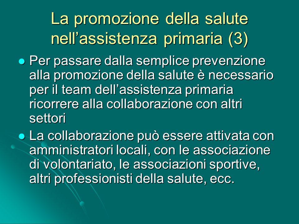 La promozione della salute nell'assistenza primaria (3)