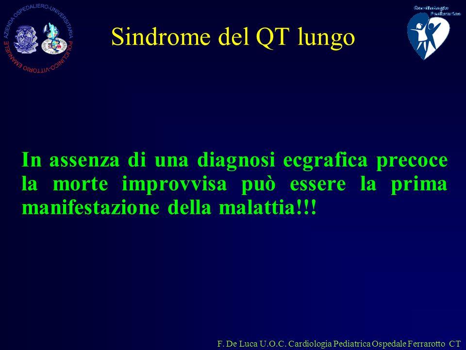 Sindrome del QT lungo In assenza di una diagnosi ecgrafica precoce la morte improvvisa può essere la prima manifestazione della malattia!!!