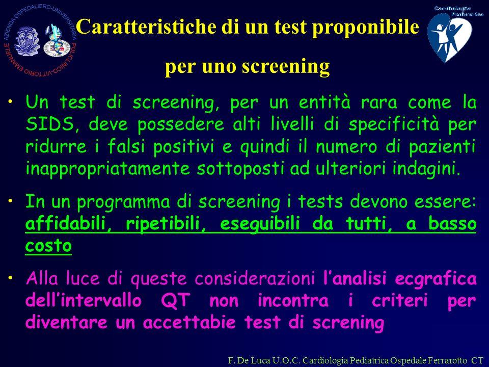 Caratteristiche di un test proponibile