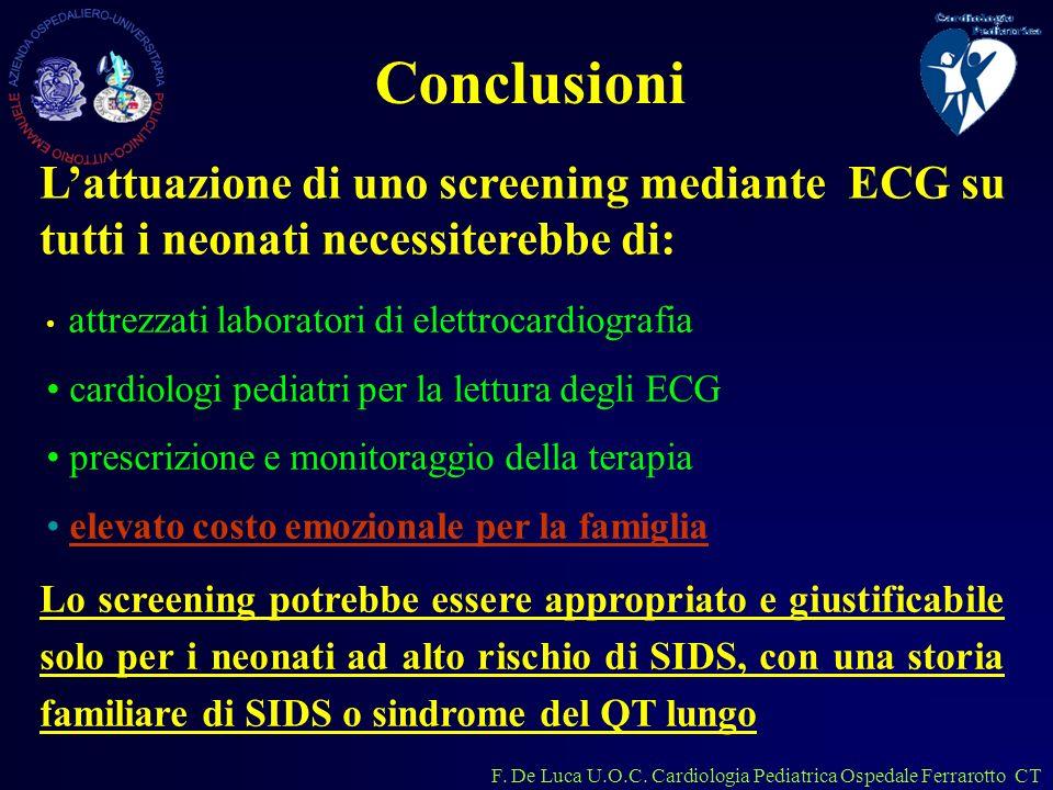 Conclusioni L'attuazione di uno screening mediante ECG su tutti i neonati necessiterebbe di: attrezzati laboratori di elettrocardiografia.