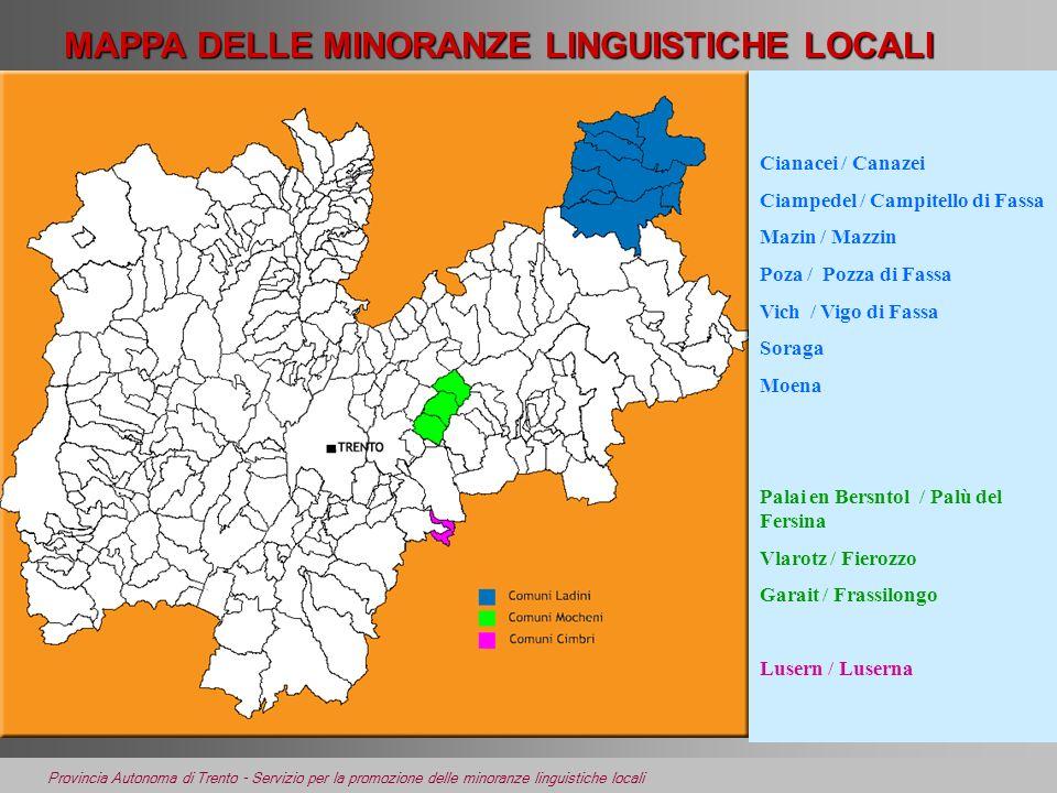 MAPPA DELLE MINORANZE LINGUISTICHE LOCALI