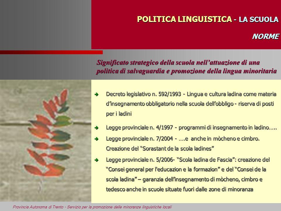 POLITICA LINGUISTICA - LA SCUOLA NORME