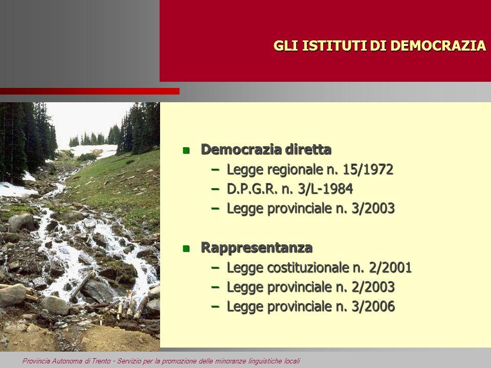 GLI ISTITUTI DI DEMOCRAZIA