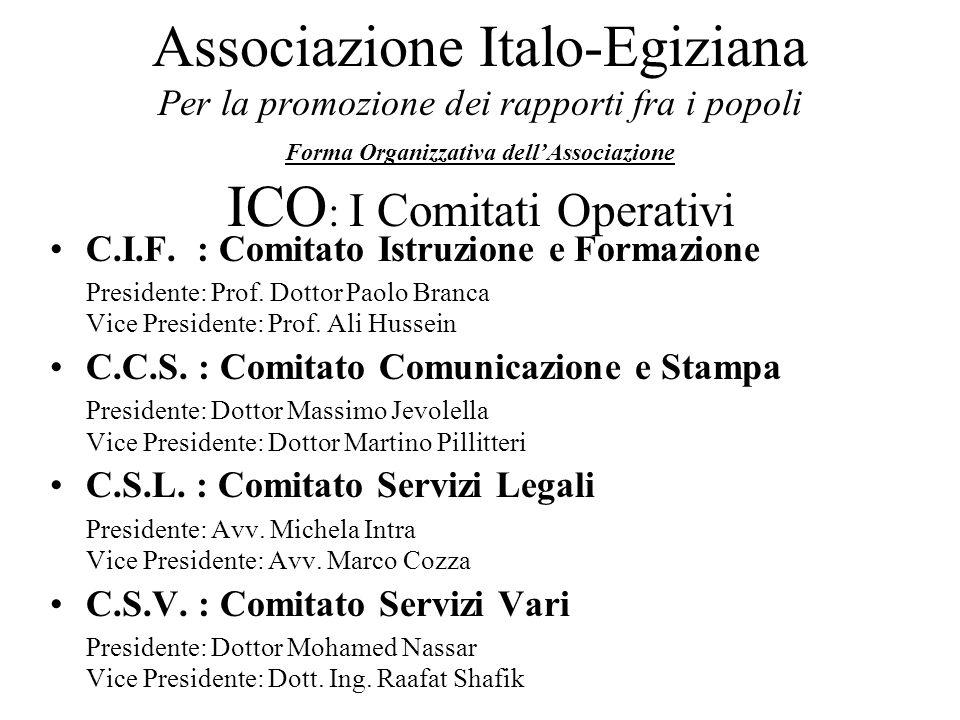 Associazione Italo-Egiziana Per la promozione dei rapporti fra i popoli Forma Organizzativa dell'Associazione ICO: I Comitati Operativi