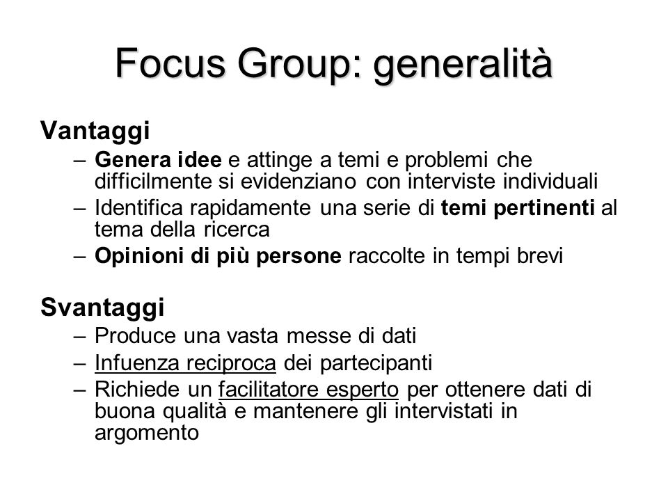 Focus Group: generalità