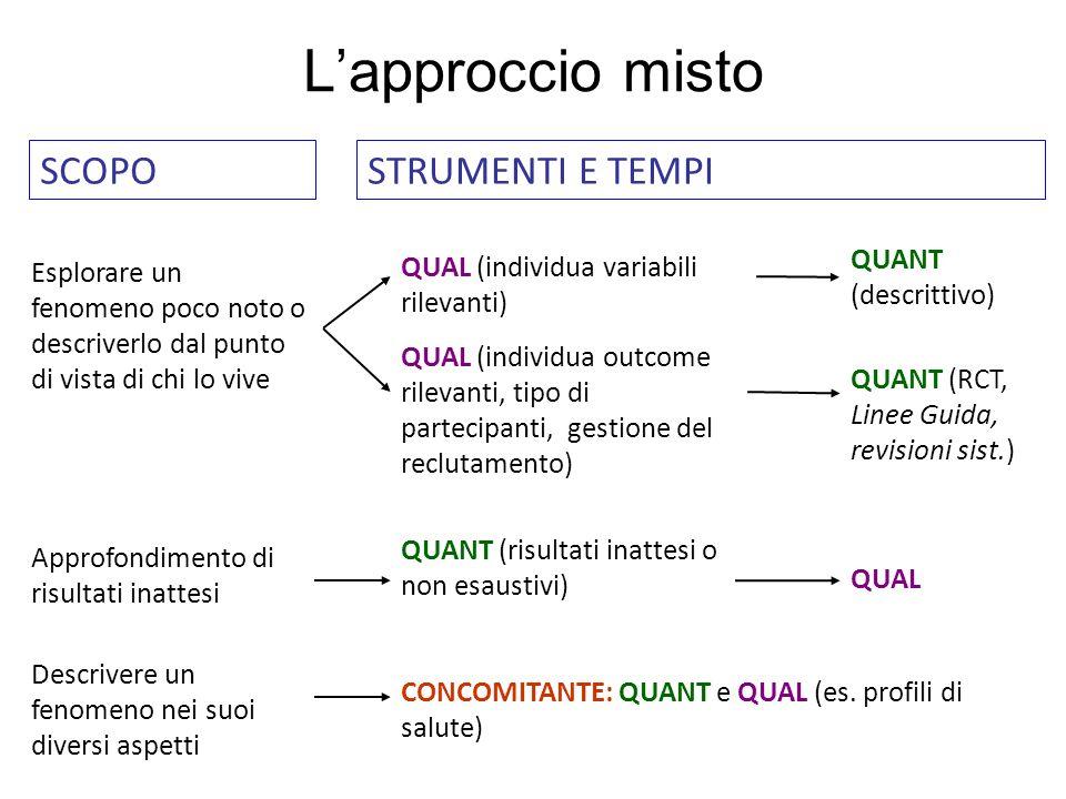 L'approccio misto SCOPO STRUMENTI E TEMPI QUANT (descrittivo)