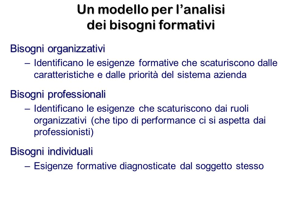 Un modello per l'analisi dei bisogni formativi