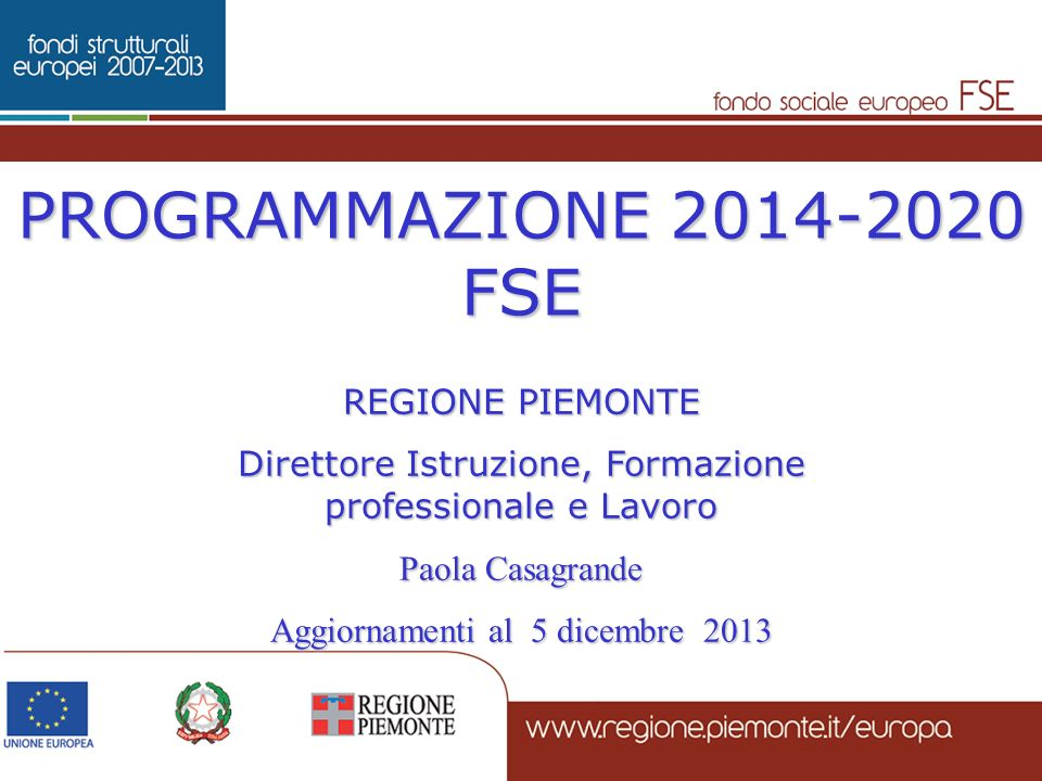 PROGRAMMAZIONE 2014-2020 FSE REGIONE PIEMONTE