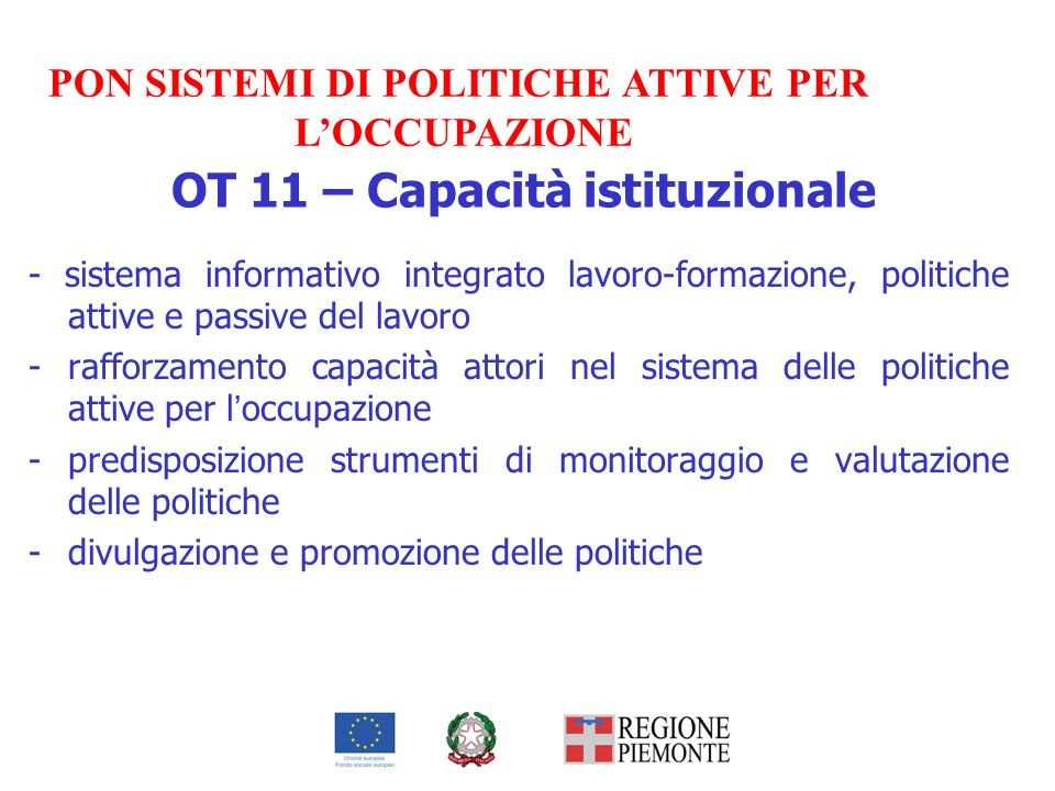 OT 11 – Capacità istituzionale