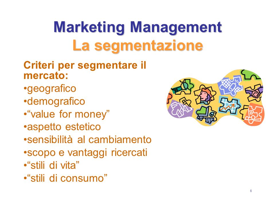 Marketing Management La segmentazione