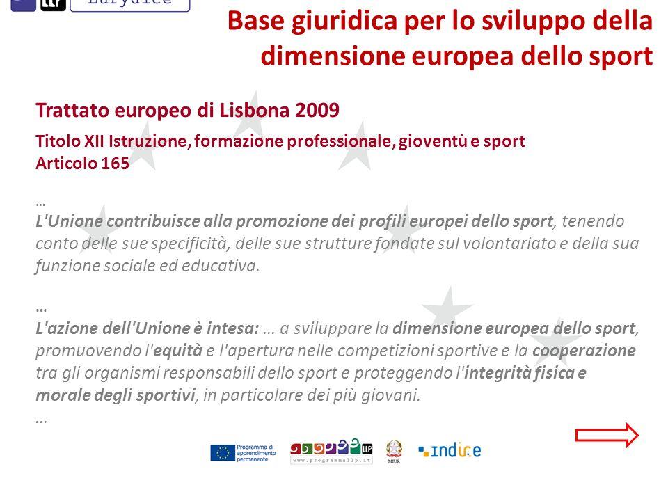 Base giuridica per lo sviluppo della dimensione europea dello sport