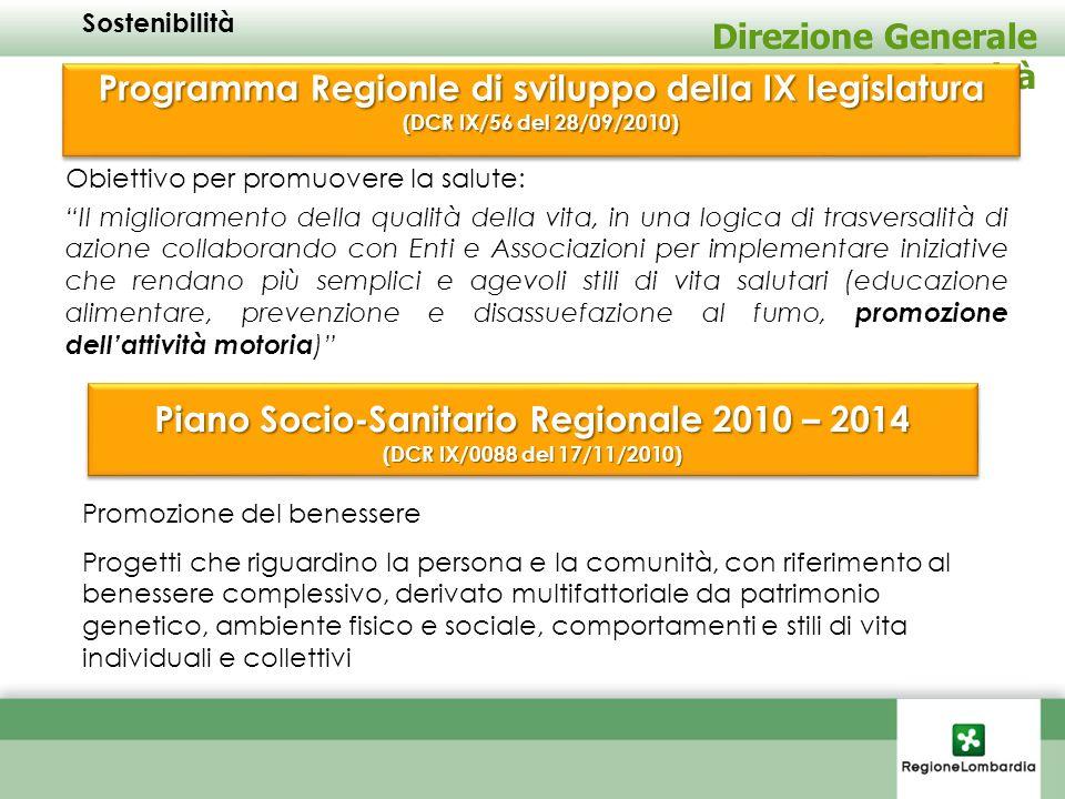 Sostenibilità Direzione Generale Sanità. Programma Regionle di sviluppo della IX legislatura (DCR IX/56 del 28/09/2010)