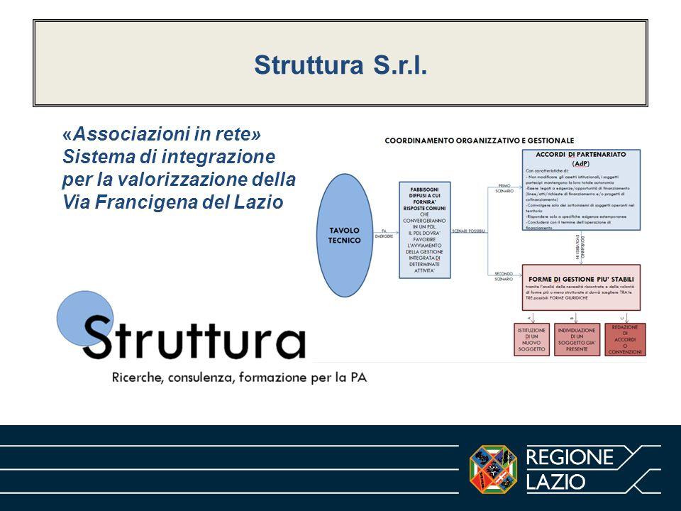 Struttura S.r.l.«Associazioni in rete» Sistema di integrazione per la valorizzazione della Via Francigena del Lazio.