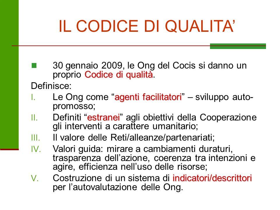 IL CODICE DI QUALITA' 30 gennaio 2009, le Ong del Cocis si danno un proprio Codice di qualità. Definisce: