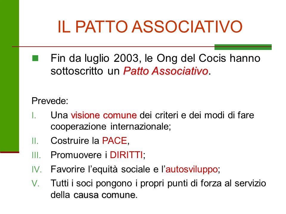 IL PATTO ASSOCIATIVO Fin da luglio 2003, le Ong del Cocis hanno sottoscritto un Patto Associativo.