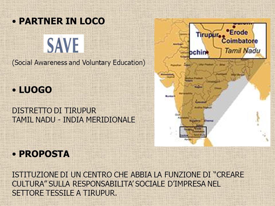 PARTNER IN LOCO LUOGO PROPOSTA DISTRETTO DI TIRUPUR