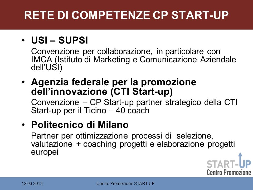 RETE DI COMPETENZE CP START-UP