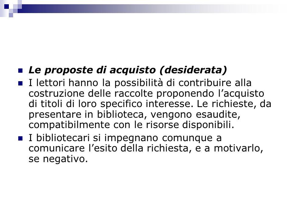 Le proposte di acquisto (desiderata)
