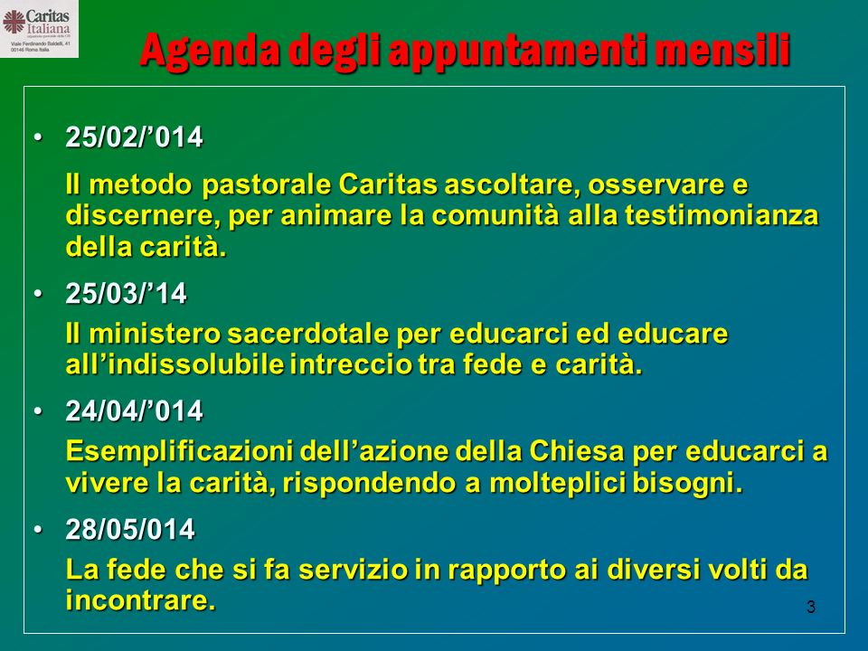 Agenda degli appuntamenti mensili
