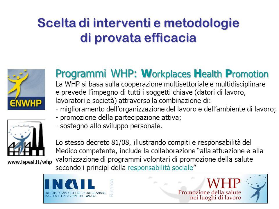Scelta di interventi e metodologie di provata efficacia