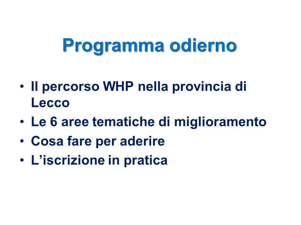 Programma odierno Il percorso WHP nella provincia di Lecco