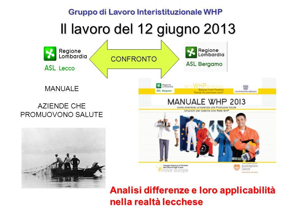 Gruppo di Lavoro Interistituzionale WHP Il lavoro del 12 giugno 2013
